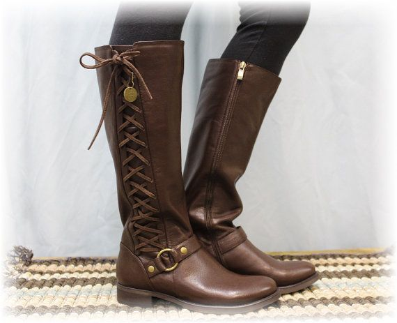 Brown leather look side lace up boot, women tall boots, boots ...
