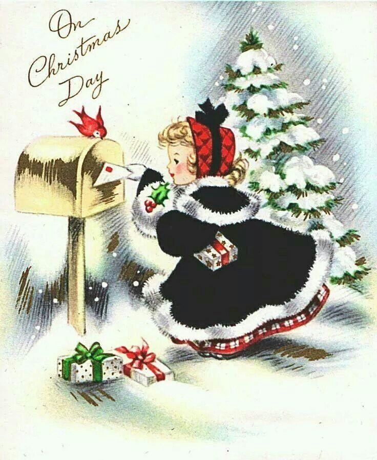 So sweet | VINTAGE CHRISTMAS CARD | Vintage christmas cards, Vintage ...