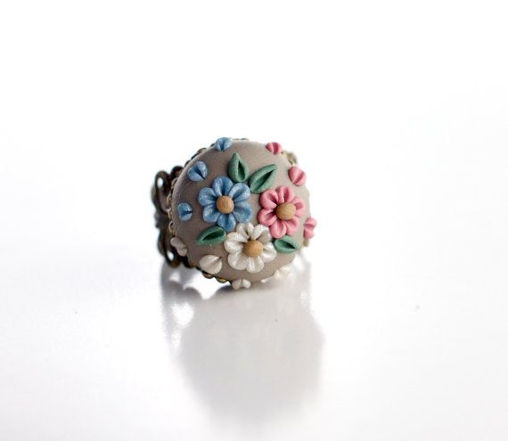 Colorful little flowers adjustable ring  by TheCraftyBeeOnline, €15.00