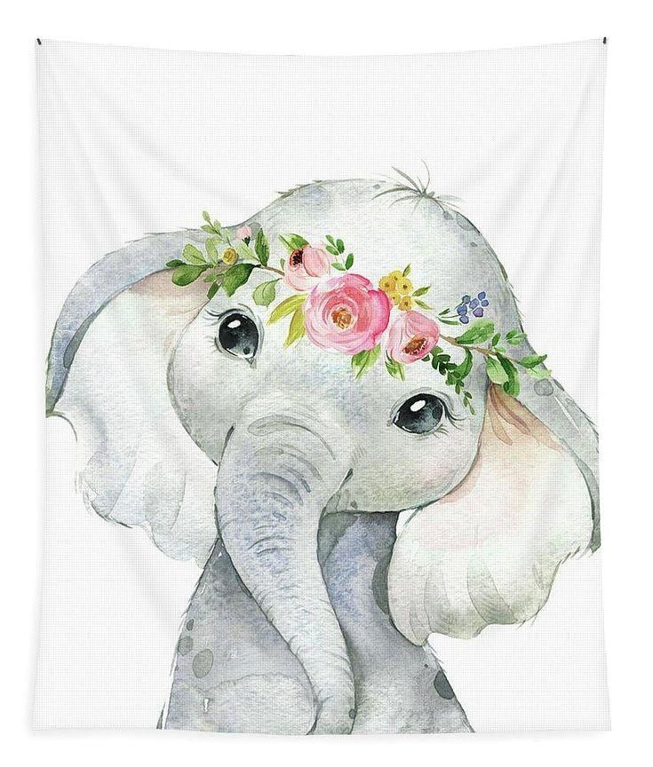 Aquarell Elefant Kinderzimmer Safari Stoff Tapisserie
