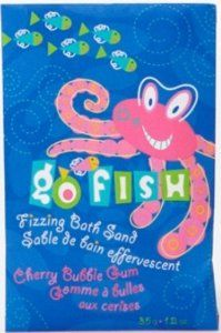 Go Fish Fizzing Bath Sand Envelope - Cherry Bubble Gum Octopus - Set Of 12 by Go Fish by Upper Canada. $3.00. 1.25 oz.. Cherry Bubble Gum Octopus. Leaves A Bright And Colorful Tub Of Water For The Kids To Splash About!. Free Go Fish Wrist Band On Every Body Wash & Bubble Bath!. Bath time comes alive with this effervescent and bubbly sand