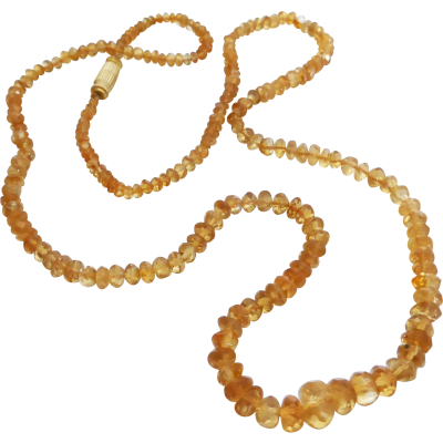 "This sparkly natural citrine necklace comprises of faceted rondelle golden citrine beads. The saturated shade of golden orange is beautiful. The necklace is graduated from large at the front to small at the back neck - the subtle taper gives an elegant touch. A secure gold-tone barrel thread clasp connects at the back.Total length of necklace measures 23"" inches or 58cm. Size of citrine beads measure 8.20mm at front to 3.00mm at back.A beautiful gemstone necklace.... and depending on your…"