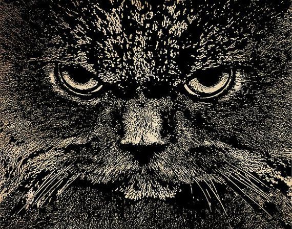 Angry Black Cat Face Png Digital Image By Digitalgraphicsshop 1 00 Black Cat Art Cat Face Cats