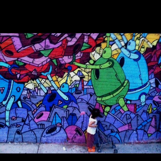 Mira admiring mural