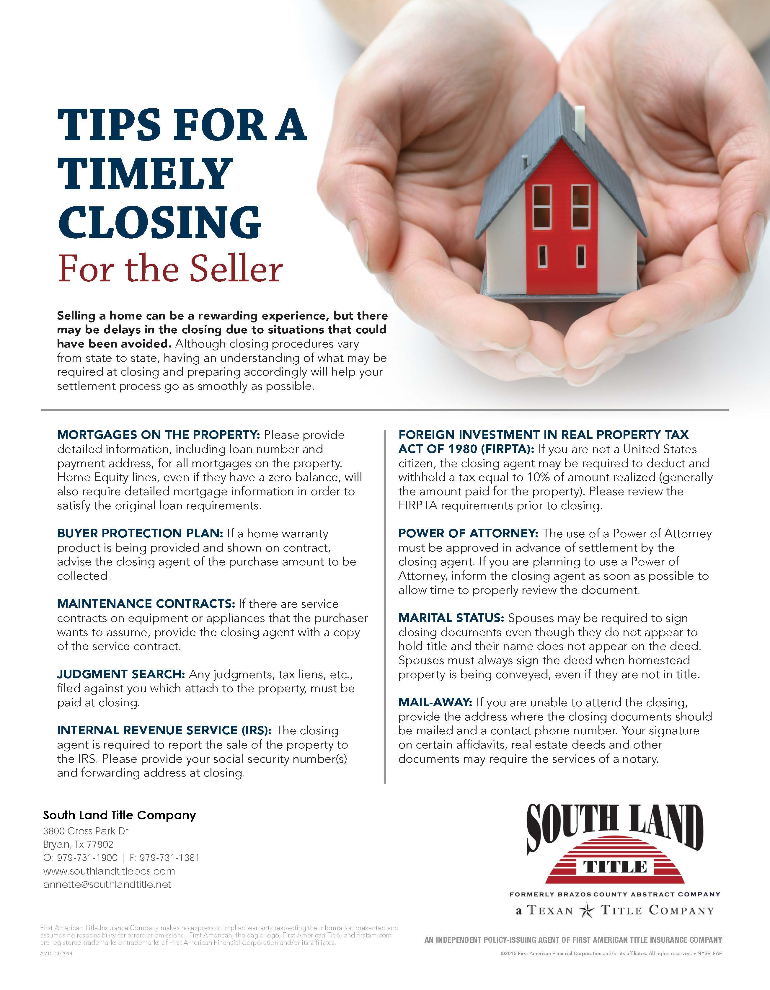 Tips For Sellers When You Are Headed Towards The Closing Table