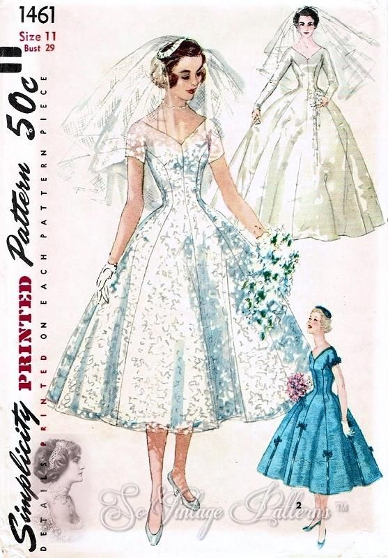1950s BEAUTIFUL Wedding Dress Pattern SIMPLICITY 1461 Bridal Gown ...