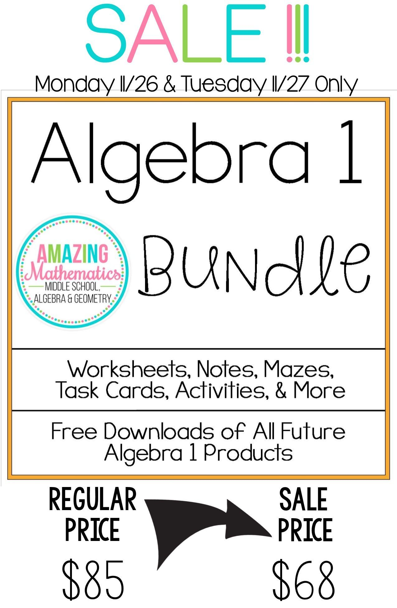 Algebra 1 Bundle All My Algebra Products For 1 Low Price