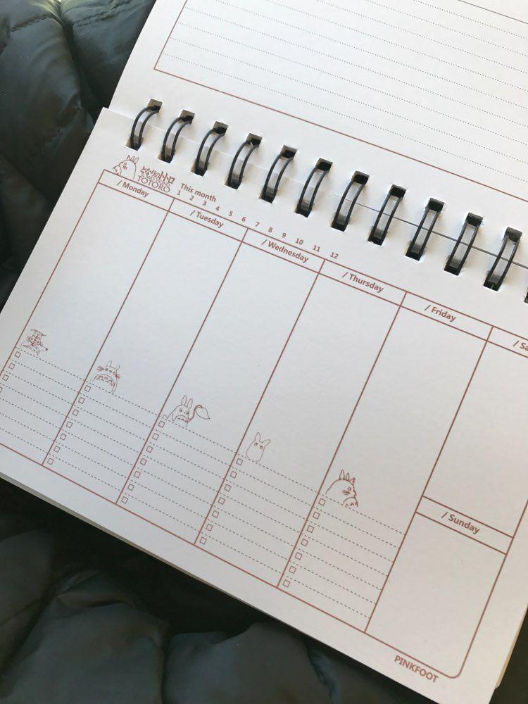 Online Shop Cartoon Totoro Weekly plan Spiral notebook Agenda for