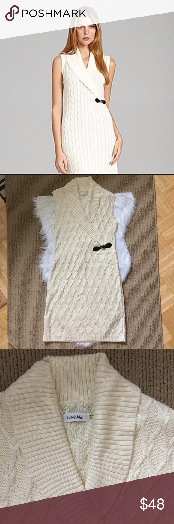 Calvin Klein Cable Knit Sweaterdress New With No Tags Never Worn