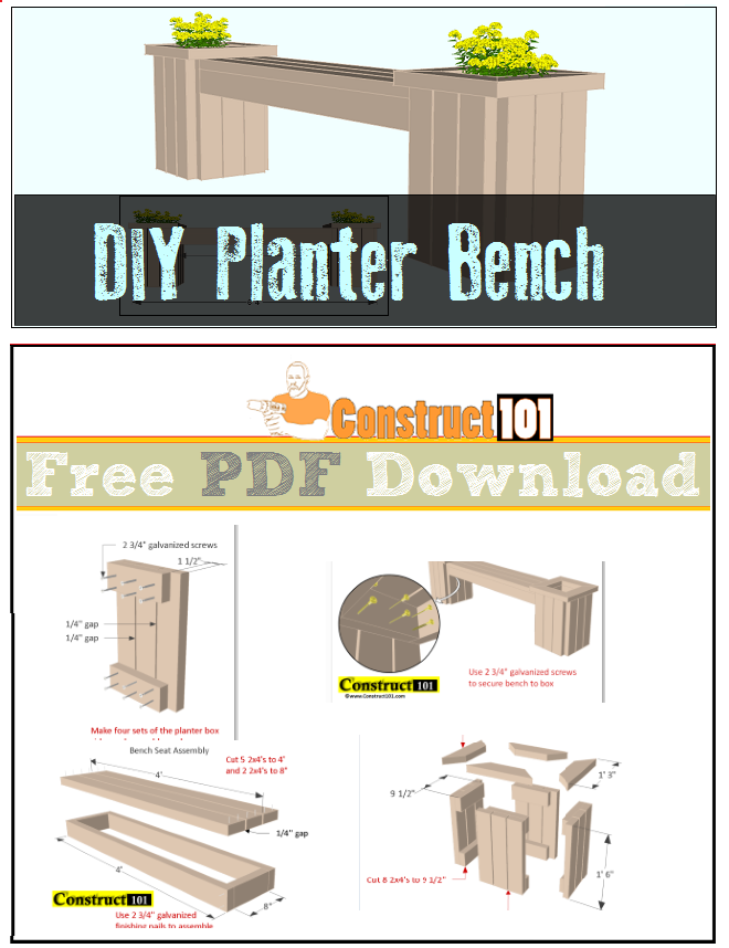 Planter Bench Plans Pdf Download Things To Do Pinterest