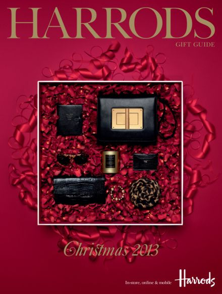 Christmas Gift Guide Catalogue.Small Harrods Gift Guide Cover Paperchains Lights Gold
