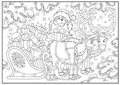 Noël : le traîneau plein de cadeaux | Christmas colors, Coloring