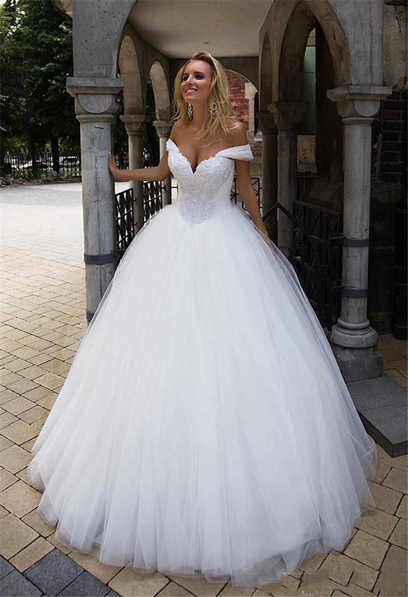LORIE Ball Gown Wedding dresses 2020 Long Train Lace Appliques & Beading Lace up Off the shoulder Bride Gowns White Customized