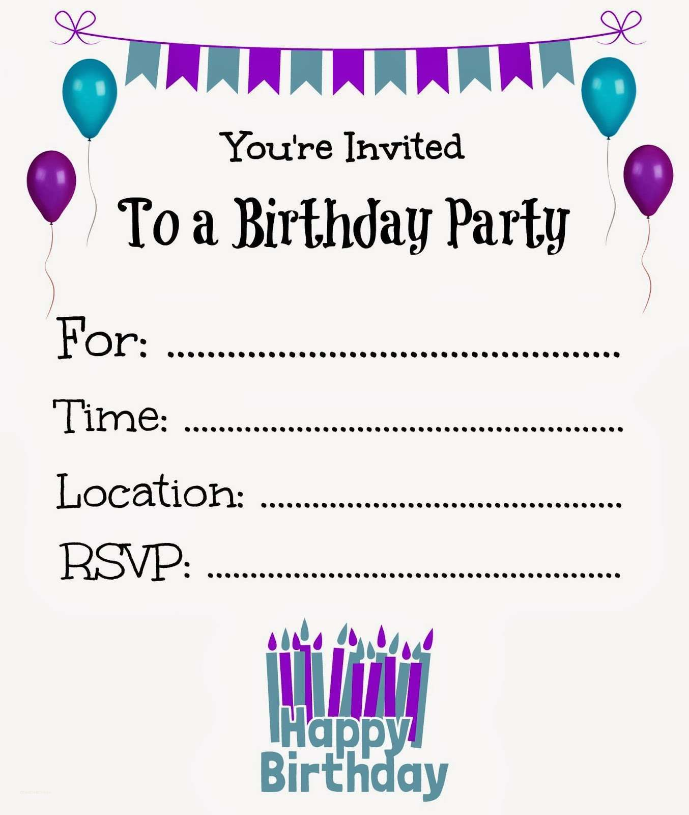 New Free Online Printable Birthday Party Invitations Birthday - Party invitation template: birthday party invitation template free online