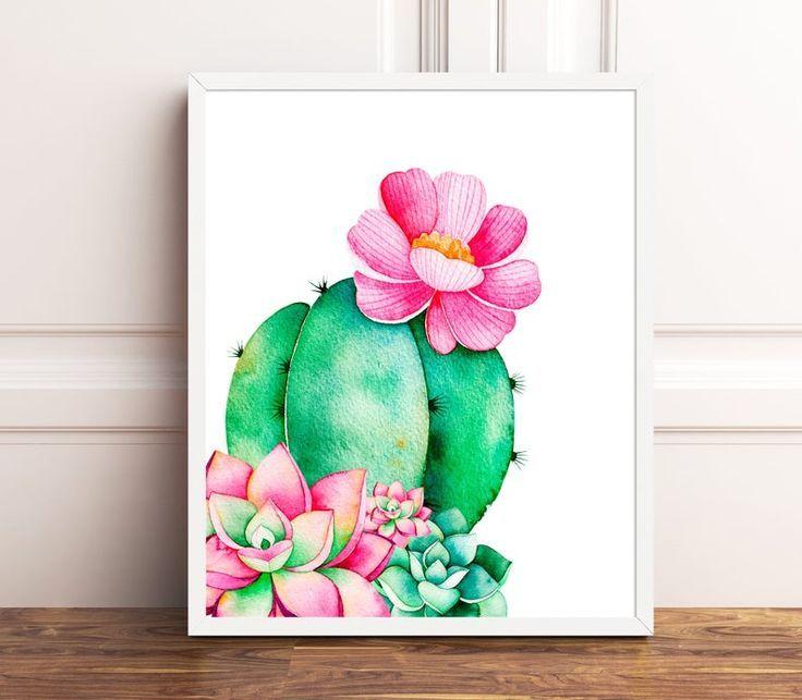 Cactus print cactus decor nursery wall art succulent