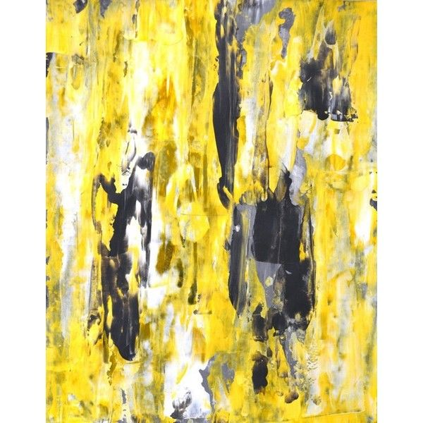 Large Acrylic Abstract Art Painting Yellow, Black, White and Grey ...