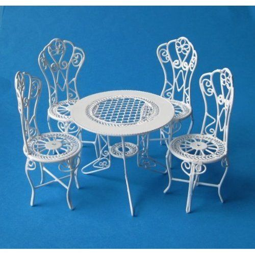 Gartenmöbel 4 Stühle und 1 Tisch - aus Metall - Möbel Set - gartenmobel weis metall