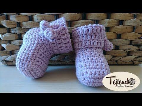 Patucos (zapatitos) para bebé tejidos a ganchillo - YouTube ...