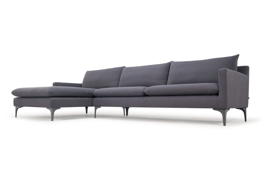 Kamma, 3-seater sofa w  chaiselong left, Spring Steel, Antracit