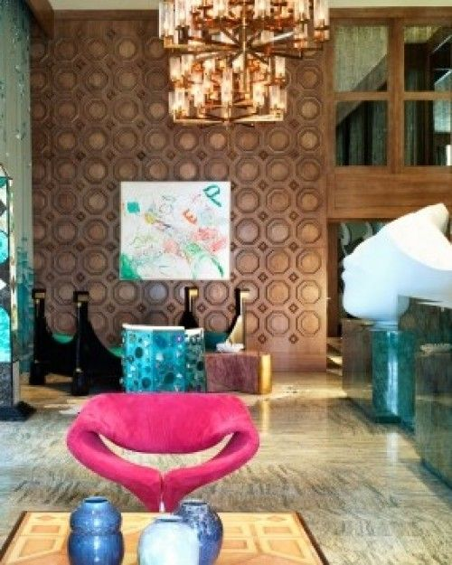 Viceroy Miami Hotel & Resort  ( Miami, Florida )   Kelly Wearstler's influence is seen in the copper-brushed mirrors and floating chandeliers in the lobby. #Jetsetter