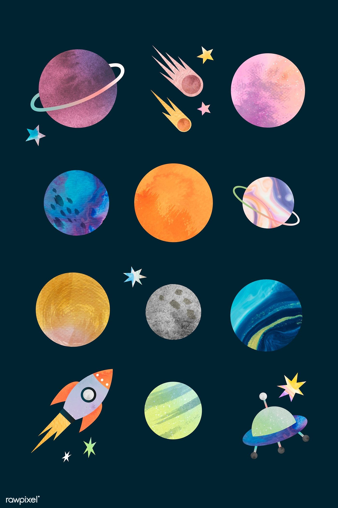 Download Premium Vector Of Colorful Galaxy Watercolor Doodle On Black Watercolor Galaxy Planet Painting Planet Drawing
