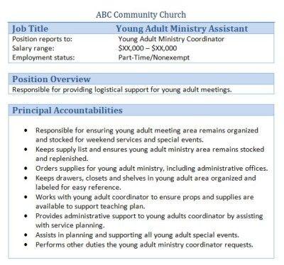 Church Forms And Job Descriptions Get Organized Job