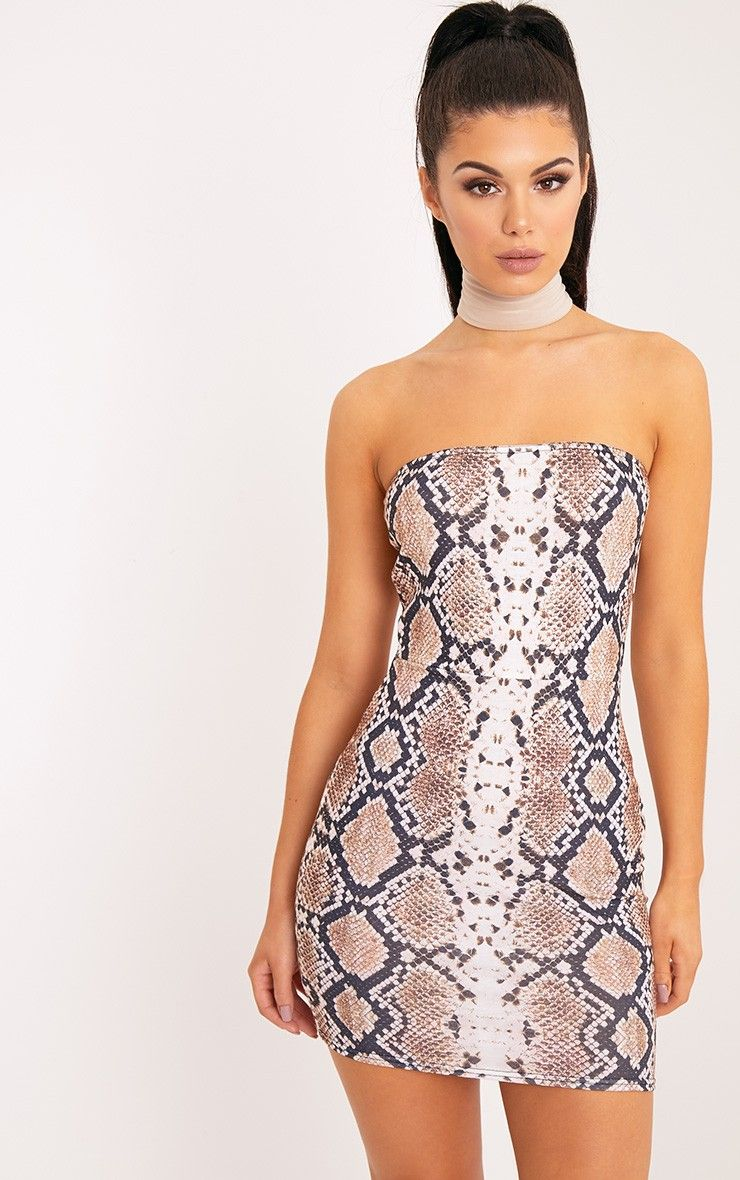 Taupe Snake Print Bandeau Bodycon DressIn a striking snake skin ...