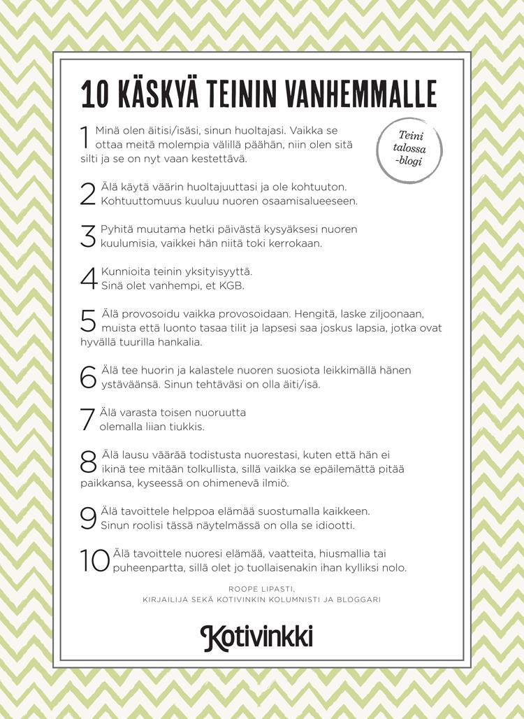 10 käskyä teinin vanhemmalle – tulostettava versio   Kotivinkki
