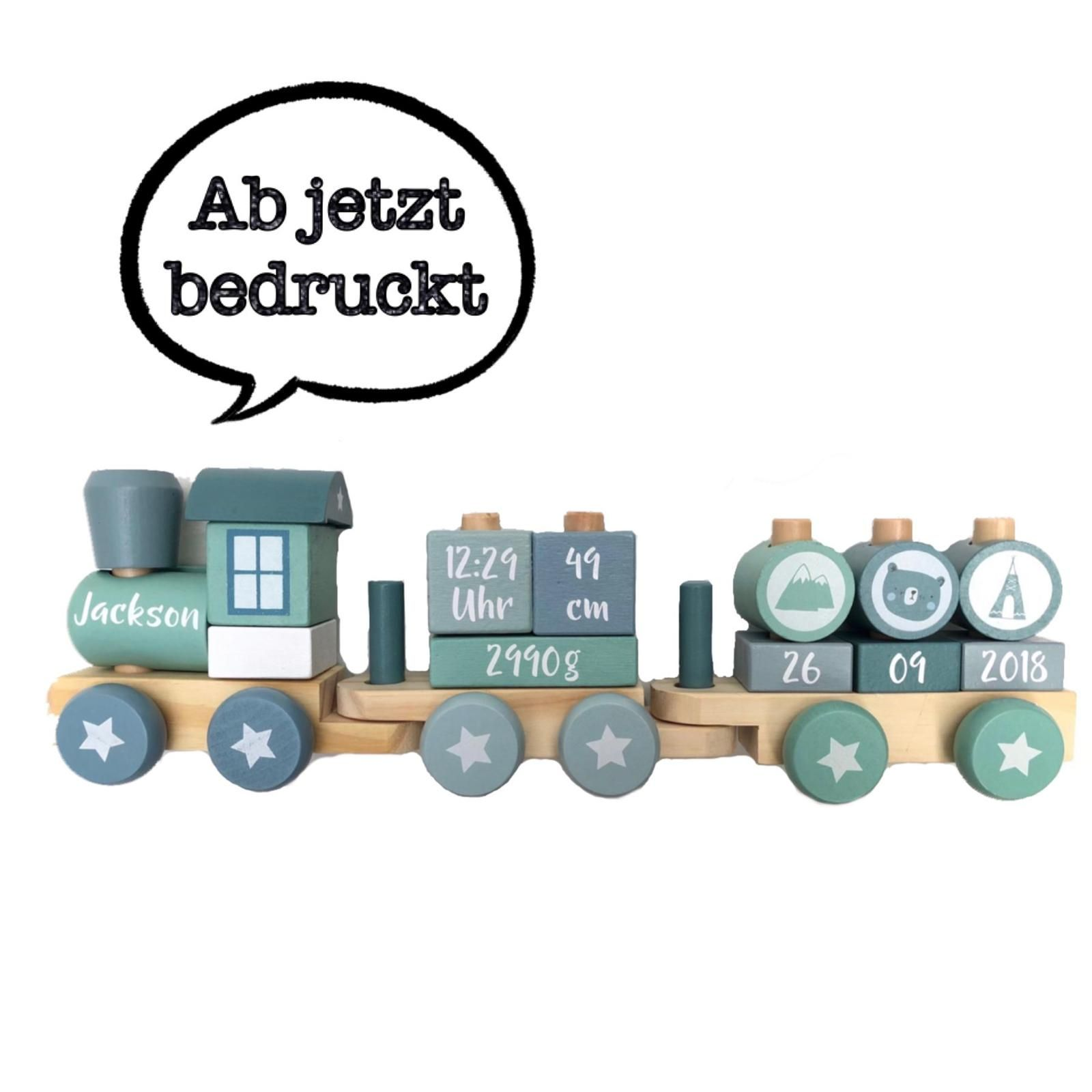 Bedruckte Holz Eisenbahn Lokomotive Zug mit Steckformen Adventure ...