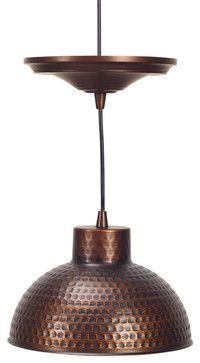 Screw-In Antique Hammered Copper Pendant Lighting with Adjustable Cord - traditional - pendant lighting - houston - Worth Home Products