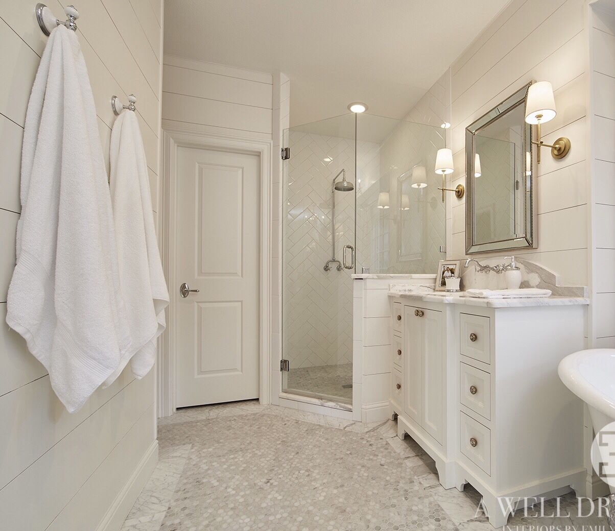 Living In The Rain Garden Bathroom Renovation: Ship Lap Walls Painted White Dove By Benjamin Moore