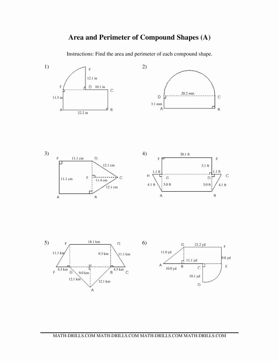 Area Of Compound Shapes Worksheet Printable Area And Perimeter Of Pound Shapes A In 2020 Shapes Worksheets Area Worksheets Perimeter Worksheets