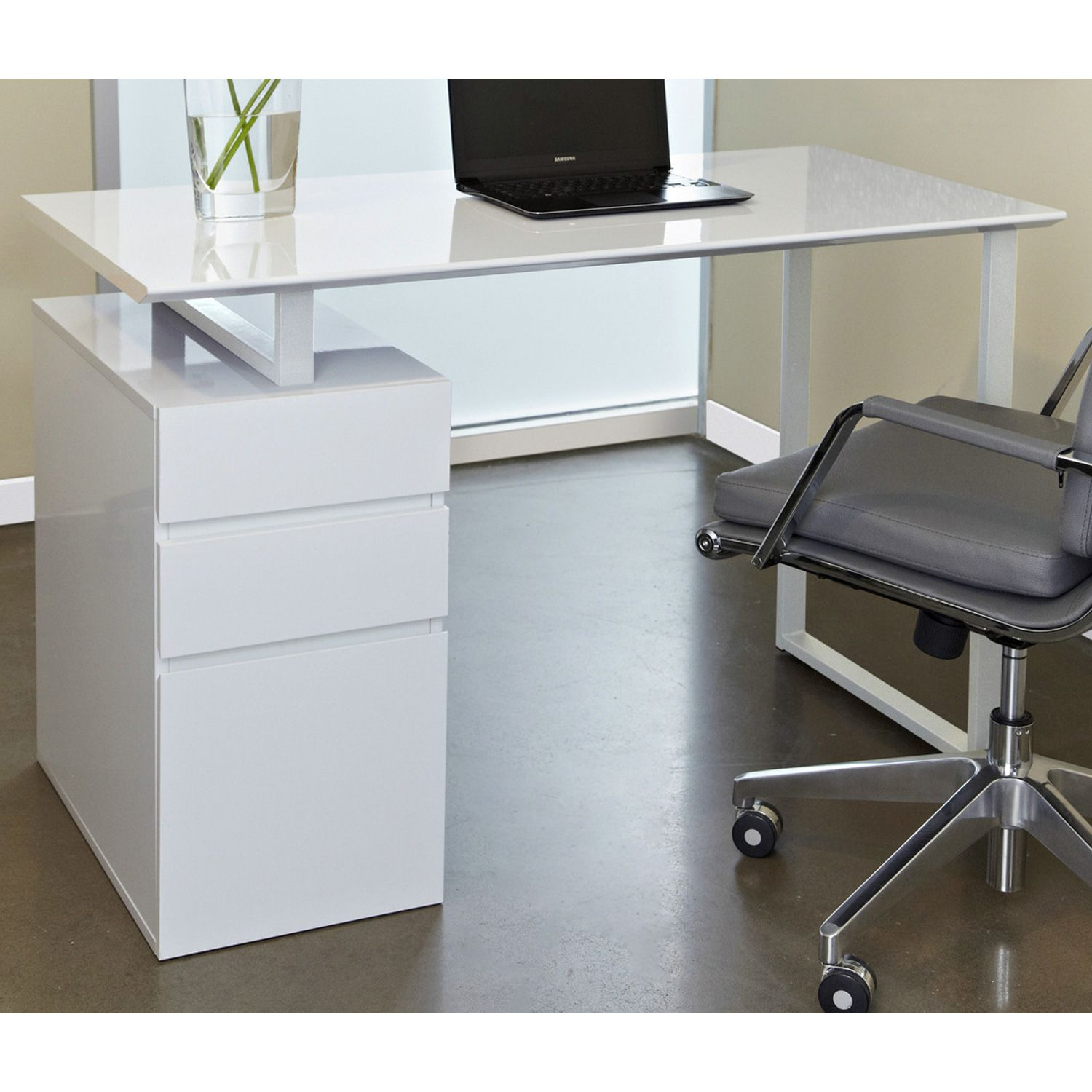 Contemporary Pedestal Desk White Writing Desk With Drawers