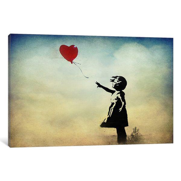 iCanvas Banksy Girl with a Balloon Watercolor Canvas Wall Art ...