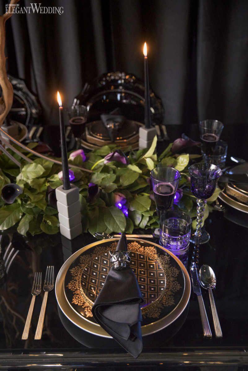 Regal Black Panther Wedding Theme Table Is Set Wedding Wedding