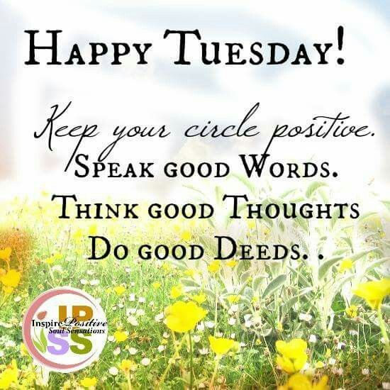 Positive Tuesday Quotes Thought of the Day! Happy Tuesday! #thoughtoftheday  Positive Tuesday Quotes