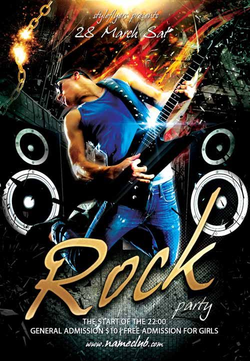 Rock Party Free Flyer Template  HttpFreepsdflyerComRock