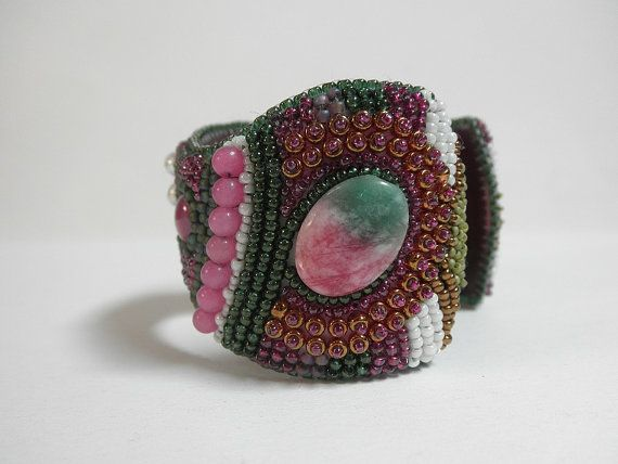 Ruby in fuchsite bead embroidered cuff by galeandra on Etsy