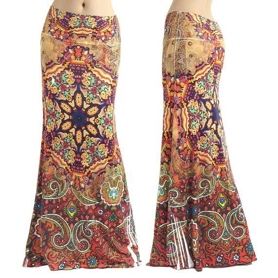 Paisley Floral butterfly high waist fold over maxi long skirt S//M//L//XL//1X//2X//3XL