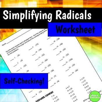 Here are 24 problems for practice with simplifying radicals ...