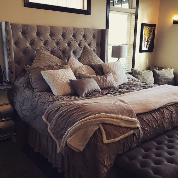Diamond Tufted Grey Velvet Wingback Headboard (King, Extra Tall ...