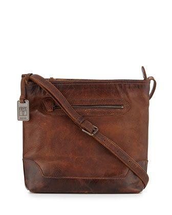 1de9d800cedb9d Melissa Tumbled Leather Crossbody Bag, Dark Brown by Frye at Neiman Marcus.