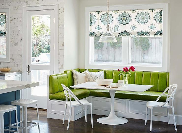 Green vinyl banquette | Kitchens | Pinterest | Banquettes, Kitchens on