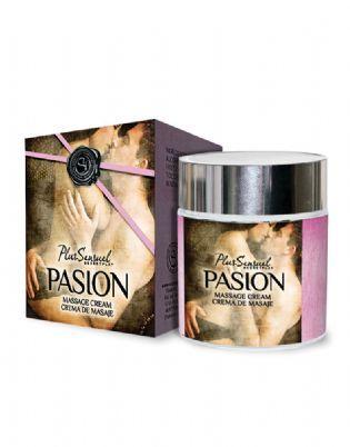 Crema de masaje 'Pasión'  La crema de masaje 'Pasión' tiene un estado sólido que se transformará lentamente en un agradable y sedoso aceite de masaje. Su efecto de calor y su sensual aroma produce una dilatación de los vasos sanguíneos despertando sentimientos de pasión, atracción, y deseo.