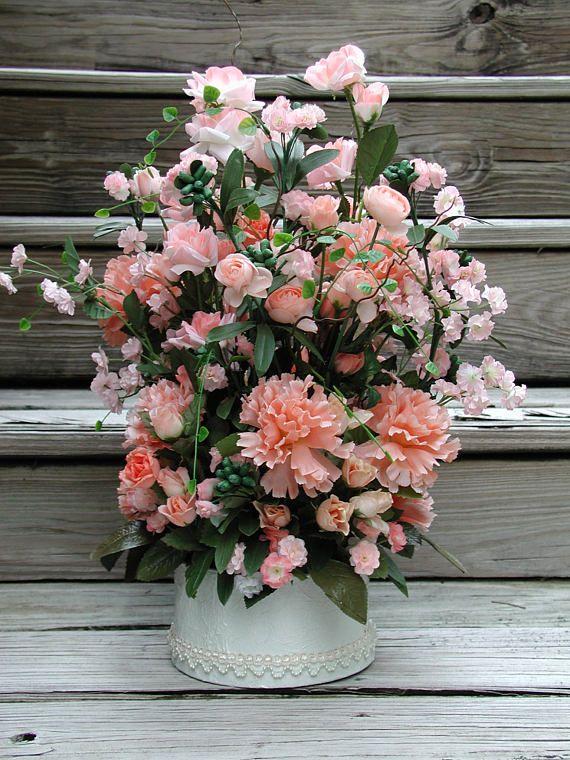 Peach silk flowers silk floral design wedding centerpiece peach silk flowers silk floral design wedding centerpiece carnations and roses peach mightylinksfo