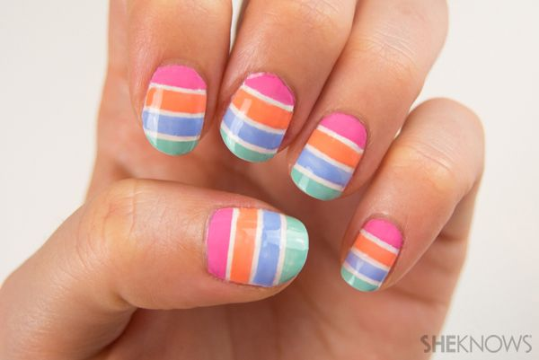 How to create color-blocked pastel striped #nails #nailart