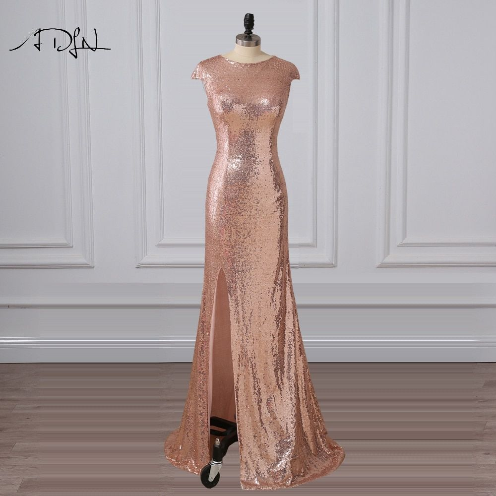 Adln mermaid evening dresses with slit scoop sequin long prom dress