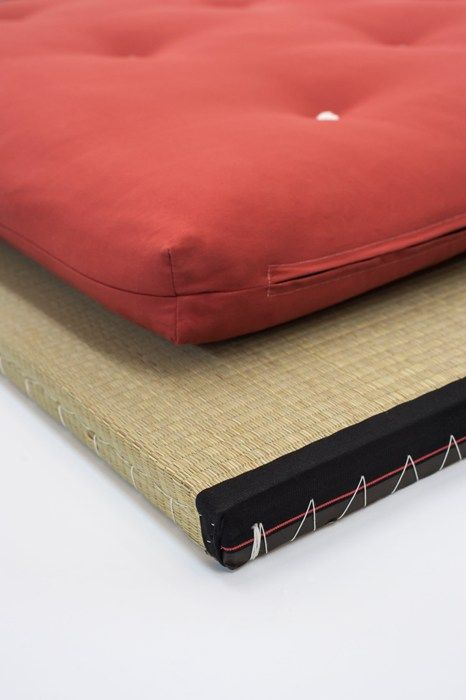 Close up detail of the Nomad bed roll in the Terracotta Drill fabric