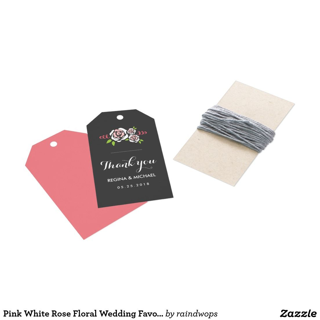 Pink White Rose Floral Wedding Favor Gift Tag | Floral wedding ...