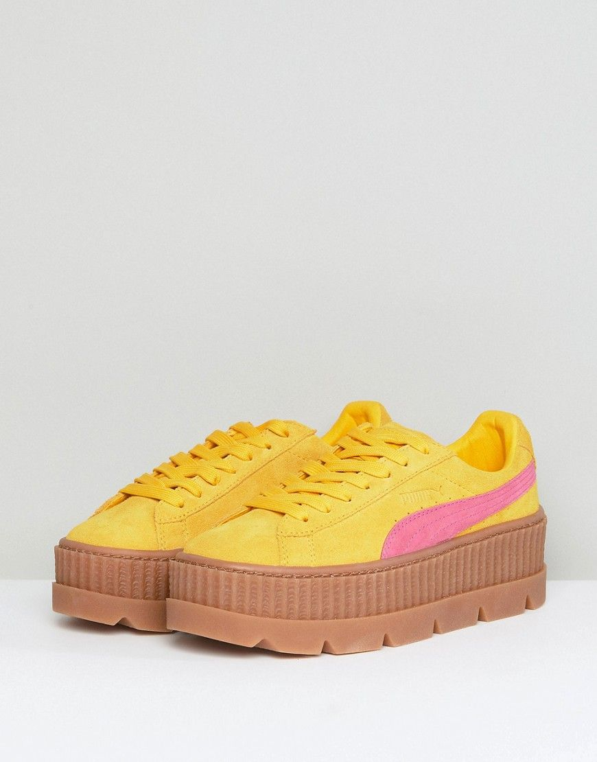 53718489988371 Puma X Fenty Suede Creepers In Yellow   Pink - Yellow